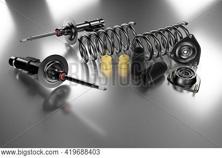 Passenger Car Shock Absorber With Dust Cap, Buffer Mounting And Strut Mounting. 3d Rendering.