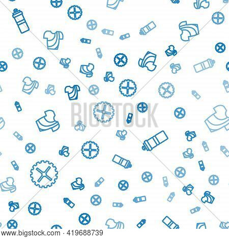 Set Line Bicycle Sprocket Crank, Sport Bottle With Water And Cycling T-shirt On Seamless Pattern. Ve