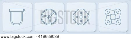 Set Line Bicycle Lock, Sprocket Crank, Wheel And Chain. White Square Button. Vector