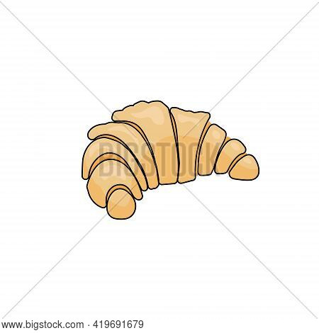 Croissant In Cartoon Style, Sweet Pastry For Logo Or Design Vector Illustration