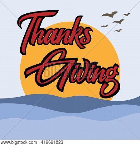 Thanks Giving Font Logo Illustration Vector. Font Communication