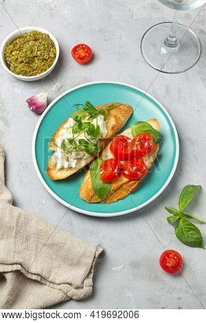 Homemade Bruschetta, A Delicious Snack Of Fried Bread Slices, Is One Of The Symbols Of Gastronomic I