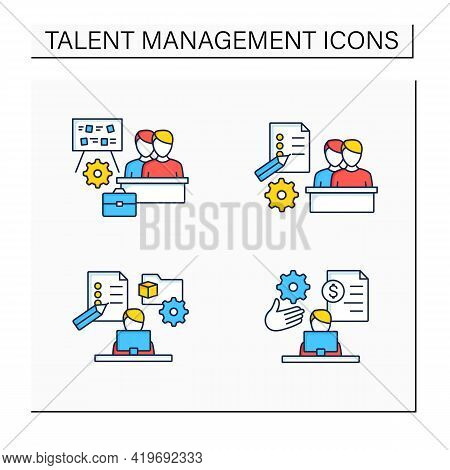 Talent Management Color Icons Set.payroll Management, Project Management, Employee Task Management,
