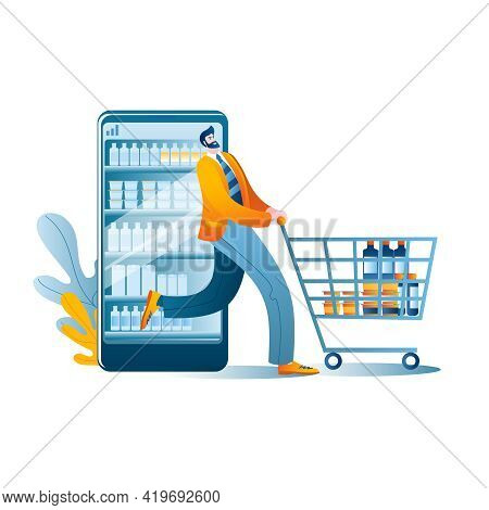Happy Man Comes Out With Purchases From An Online Supermarket On A Smartphone. Concept Of A Vector I