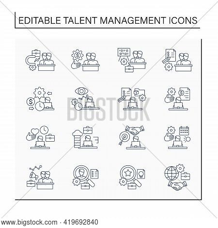 Talent Management Line Icons Set.attracting Employees. Recruitment. Talent Development.business Prac