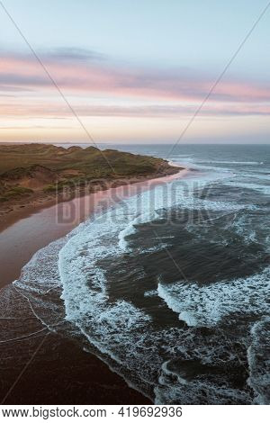 Drone shot of coast at Aberdeenshire coast, Scotland