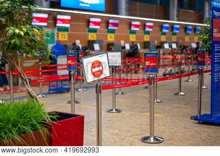 Moscow, Russia - 07may, 2021: Check-in Area In Sheremetyevo International Airport. Check-in Counters