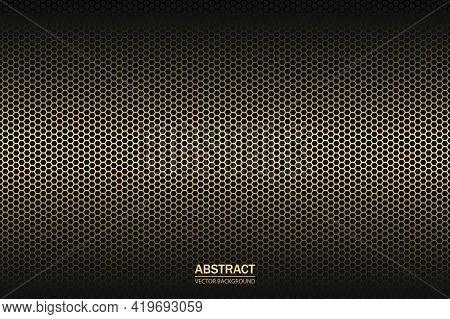 Carbon Fiber Hexagon Texture. Metal Grid Black Steel Background. Dark Carbon Fiber Texture.