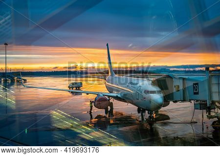 Moscow, Russia - May 06, 2021: Aeroflot Aircraft Through Glass With Reflections. Plane Of The Allian