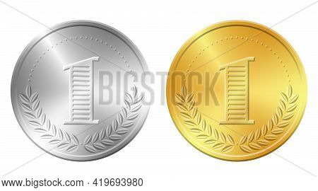 One Gold And Silver Coins Vector Illustration. Realistic Money Icon Isolated On White Background.