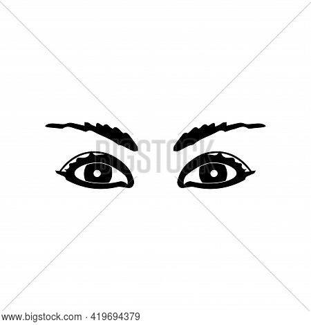 Woman's Eye. Hand-drawn Woman's Eye With Perfectly Shaped Eyebrows And Full Lashes. Idea For Busines
