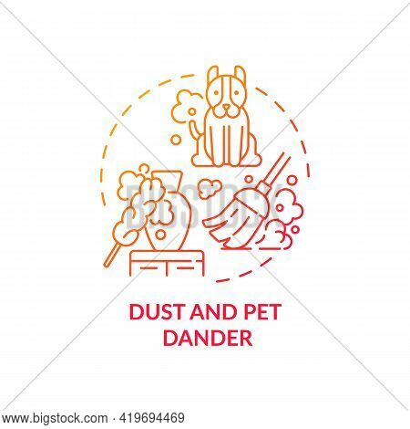 Dust And Pet Dander Concept Icon. Indoor Air Pollution Idea Thin Line Illustration. Biological Conta