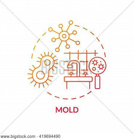 Mold Concept Icon. Indoor Air Pollution Idea Thin Line Illustration. Toxic Substances. Bacteria And