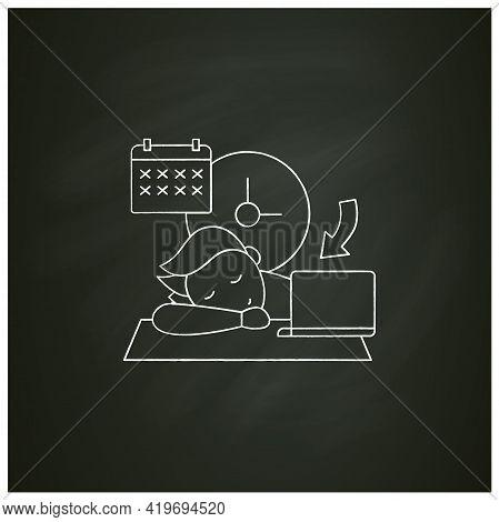Crisis Marker Procrastinator Chalk Icon.laziness. Defer Task. Sleep At Workplace. Working On Stressf