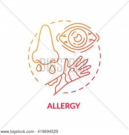 Allergy Concept Icon. Air Pollution Disease Idea Thin Line Illustration. Breathing Difficulties, Whe
