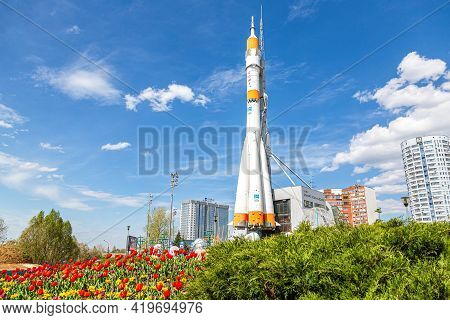 Samara, Russia - May 4, 2021: Real Soyuz Type Spacecraft As Monument And Exhibition Center Of Space