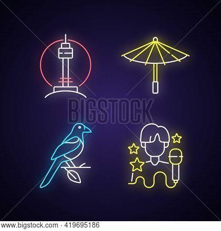 Korean Traditions Neon Light Icons Set. N Seoul Tower. Traditional Umbrella. Oriental Magpie. K Pop