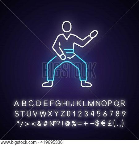 Taekwondo Neon Light Icon. Martial Arts. Karate Fighter. Japanese Jiu Jitsu. Korean Culture. Outer G