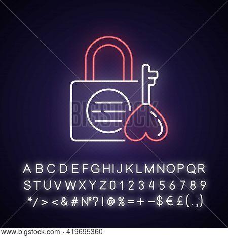 Namsan Love Locks Neon Light Icon. Couple Relationship Devotion. Korean Culture. Outer Glowing Effec
