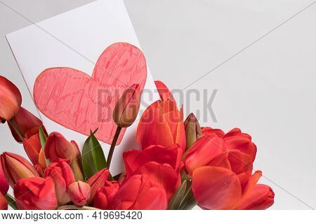Beautiful Greeting Card With Tulips And Postcard Red Heart With Place For Text Copy Cpace. For The H
