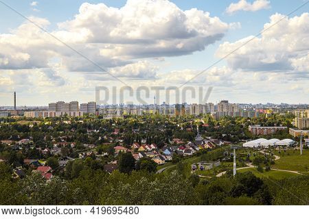 Aerial View Of Berlin Skyline With Famous Tv Tower At Alexanderplatz And Dramatic Cloudscape At Suns