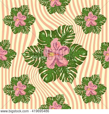Floral Exotic Tropical Seamless Pattern Tropic Hawaiian Wallpaper. Botanical Print. Modern Floral Ba