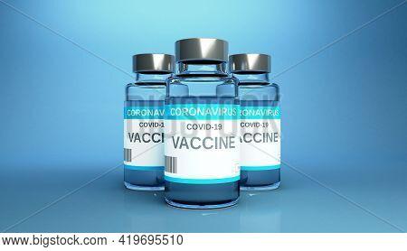 Creative Design For Coronavirus Vaccine Background. Covid-19 Corona Virus Vaccination With Vaccine B