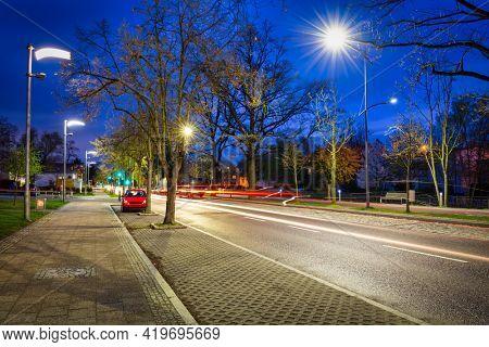 Night scenery of city center in Pruszcz Gdanski, Poland.