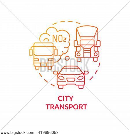 City Transport Concept Icon. Outdoor Air Pollutant Idea Thin Line Illustration. Roadway Emissions Co