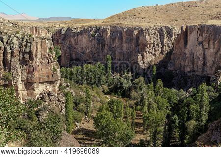 Ihlara Valley, Turkey - October 5, 2020: This Is The Melendi Creek Canyon In The Ihlara Valley, Whic