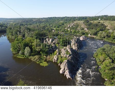 A Bend Of The Southern Bug River Called Integral From A Bird's Eye View. A Picturesque River Among T