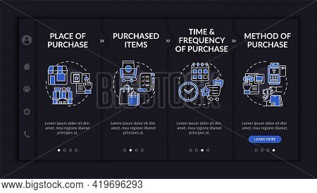 Purchaser Behavior Patterns Onboarding Vector Template. Responsive Mobile Website With Icons. Web Pa