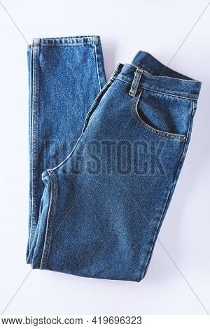 Blue Jeans Isolated On White Background.beautiful Casual Jeans