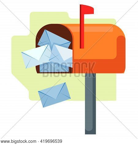 Open Mailbox With Letters. Overfilled, Envelopes Are Emptying Out. Flat Object. Vector Illustration