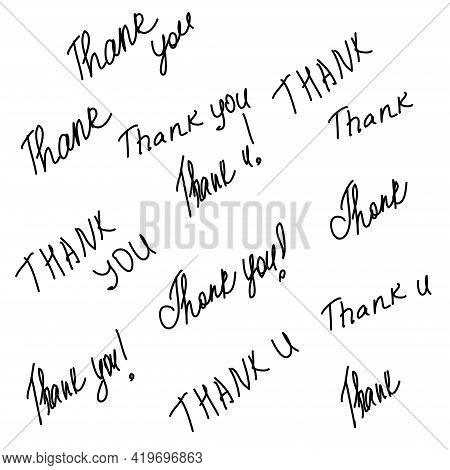 Hand Written Calligraphy Style Short Messages Set. Lettering Thank You. Design Elements For Postcard