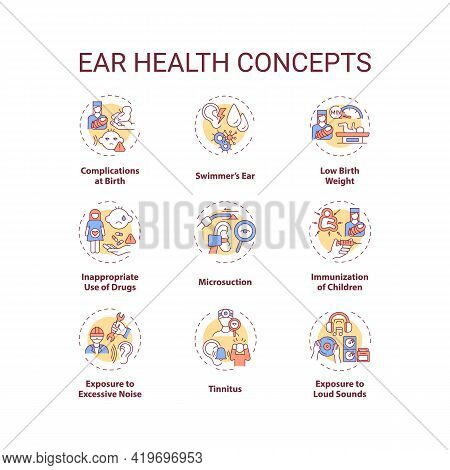 Ear Health Concept Icons Set. Hearing Loss Prevention Idea Thin Line Rgb Color Illustrations. Compli