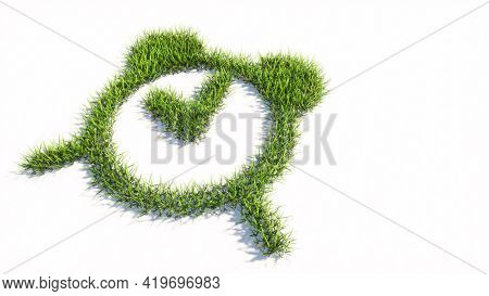 Concept or conceptual green summer lawn grass symbol shape isolated white background, alarm clock icon. 3d illustration metaphor for time, countdown, notification and deadline
