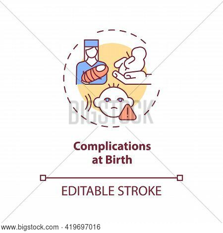 Complications At Birth Concept Icon. Hearing Loss Cause Idea Thin Line Illustration. Viral Infection