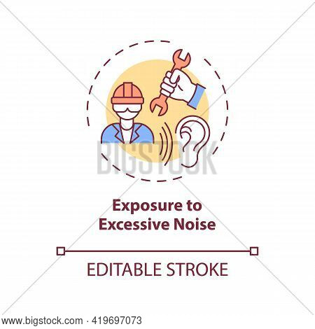 Exposure To Excessive Noise Concept Icon. Hearing Loss Cause Idea Thin Line Illustration. Loud Sound
