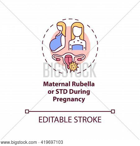 Maternal Rubella And Std During Pregnancy Concept Icon. Congenital Hearing Loss Cause Idea Thin Line