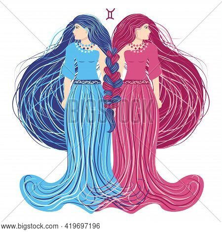 Zodiac, Zodiac Sign Illustration As A Beautiful Girl With Braids. Vintage Zodiac Boho Style Fashion