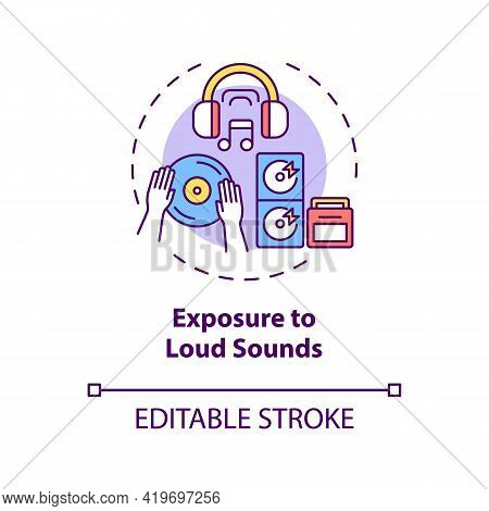 Exposure To Loud Sounds Concept Icon. Acquired Hearing Loss Idea Thin Line Illustration. Ringing In