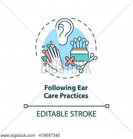 Following Ear Care Practices Concept Icon. Hearing Loss Prevention Idea Thin Line Illustration. Ear