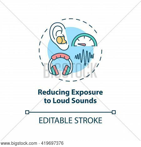 Reducing Exposure To Loud Sounds Concept Icon. Hearing Loss Prevention Idea Thin Line Illustration.
