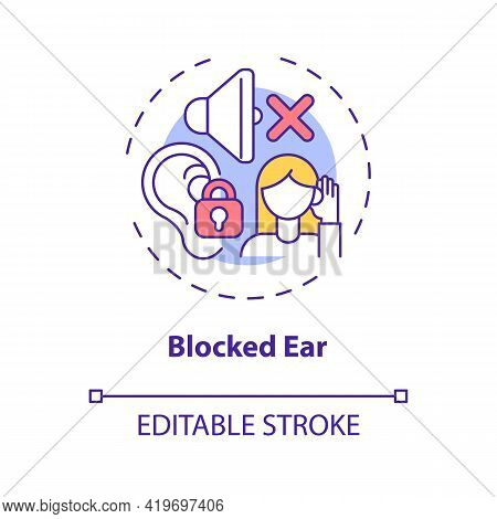 Blocked Ear Concept Icon. Top Ear Condition Idea Thin Line Illustration. Clogged, Muffled Sensation.