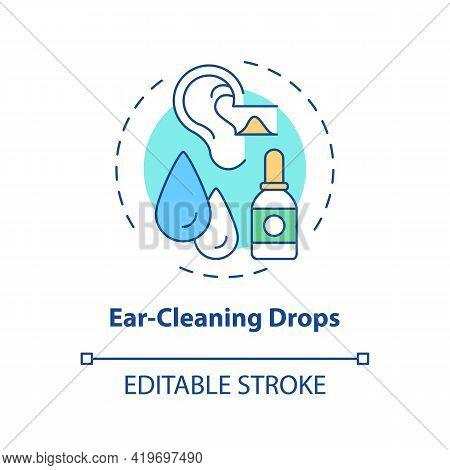 Ear-cleaning Drops Concept Icon. Ear Hygiene Method Idea Thin Line Illustration. Using Hydrogen Pero