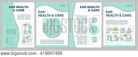 Ear Health And Care Brochure Template. Deafness Prevention. Flyer, Booklet, Leaflet Print, Cover Des