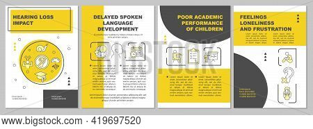 Hearing Loss Impact Brochure Template. Spoken Language Delay. Flyer, Booklet, Leaflet Print, Cover D