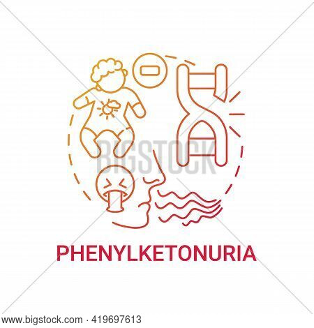 Phenylketonuria Red Gradient Concept Icon. Disability From Inherited Illness. Metabolism Issue. Gene