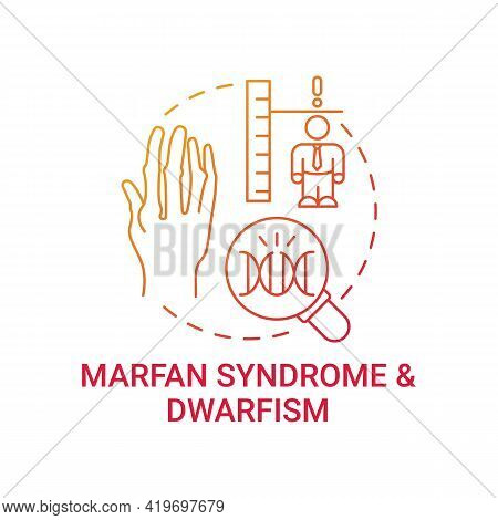 Marfan Syndrome And Dwarfism Red Gradient Concept Icon. Chromosome Mutation. Health Care Issue. Gene